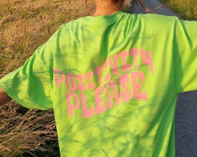 Lime Green Positivity Please Oversized T-shirt