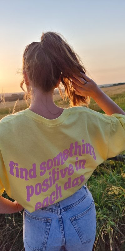 Yellow Find Something Positive Oversized T-shirt